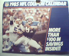 1985 NFL Coupon Calendar with Pro Hall of Famers!