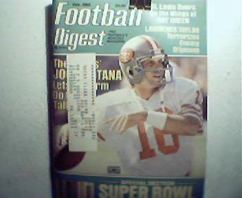 Football Digest-2/85 Joe Montana! K.Winslow,T.Peters!