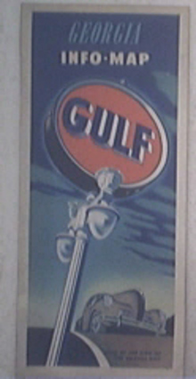 c1950 GULF Info-Map of Georgia