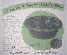 1940's Plastic Utensils COLANDER AD
