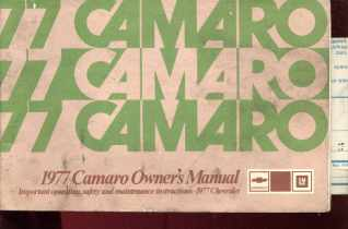 Great 1977 Chevy Camaro Owners Manual