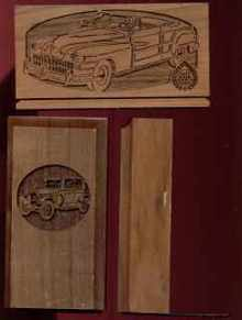 Engraved Bookends Letter Rack w Vintage Cars