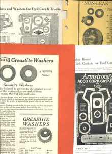 Ford Washsers & Gaskets 1925 6pp Dealers Ads