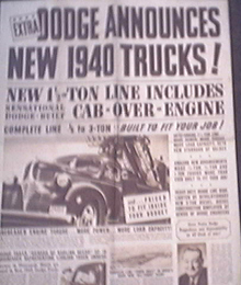 RARE- 1940 New DODGE Trucks Annoument Paper