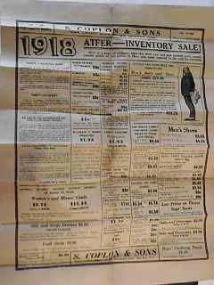 1918 Clothing Store Poster/Flyer S. Coplon NC