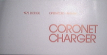 1972 Dodge Coronet Charger Operators Manual