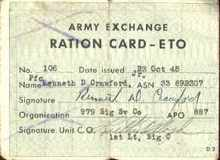 army exchange ration card Eto 1945 used