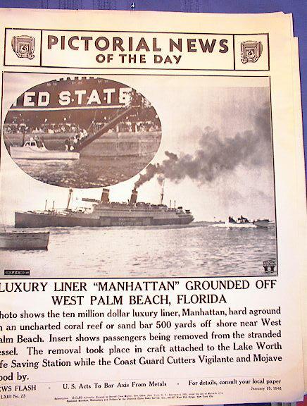 LUXURY LINER'MANHATTAN'GROUND JANUARY 15,1941
