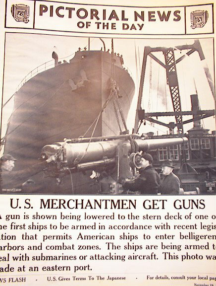 U.S MERCHANTMEN GET GUNS NOV 28,1941 PHOTO