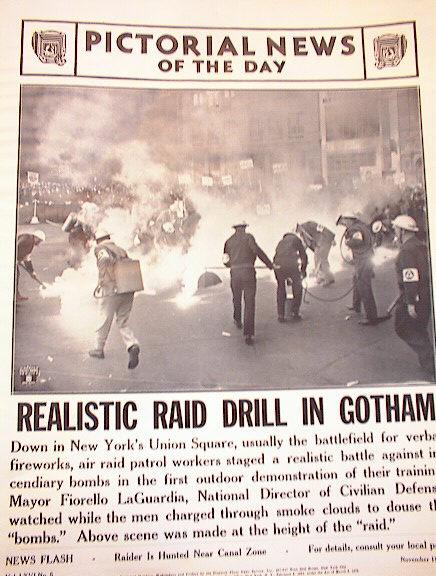 REALISTIC RAID DRILL IN GOTHAM.PHOTO 1941