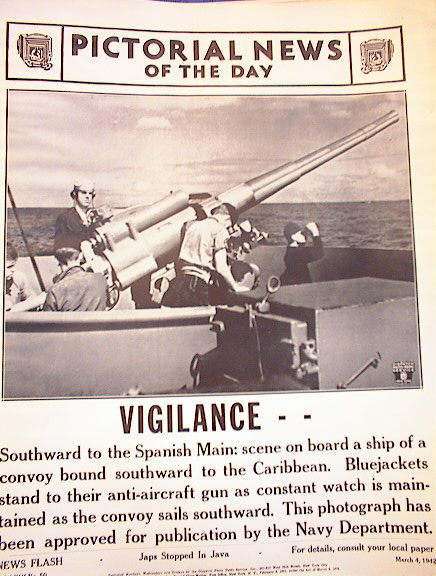 ANTI-AIRCRAFT GUN ON A SHIP. PHOTO 3-4-1942