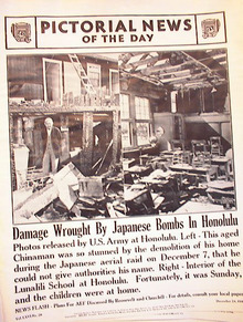 DAMAGE WROUGHT BY JAP BOMBS IN HONOLULU PHOTO