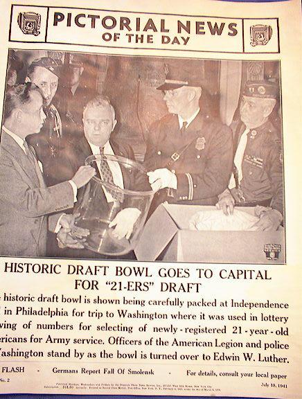 HISTORIC DRAFT BOWL  PHOTO JULY 18,1941