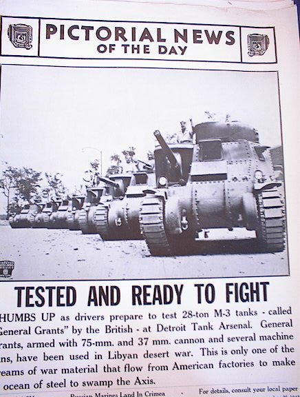 PHOTO OF TEST OF 28-TON M-3 TANKS  JUNE 26,42