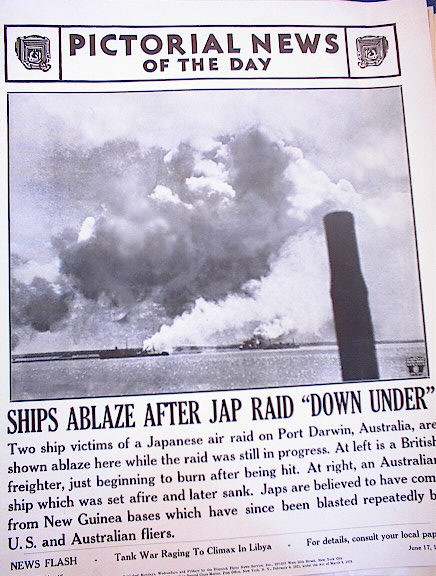 PHOTO OF SHIPS ABLAZE AFTER JAP RAID 1942