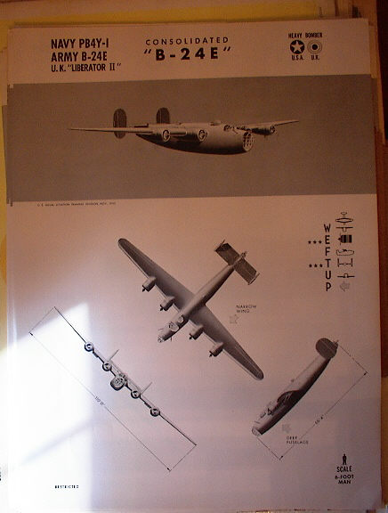 TRAINING POSTER OF THE CONSOLIDATED B-24 E
