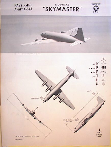 1943 TRAINING POSTER OF A DOUGLAS SKYMASTER
