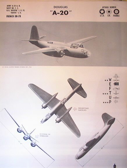 TRAINING POSTER OF A DOUGLAS 'A-20' 1942