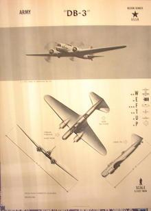 1944TRAING POSTER OF'DB-3'MEDIYM BOMBER PLANE