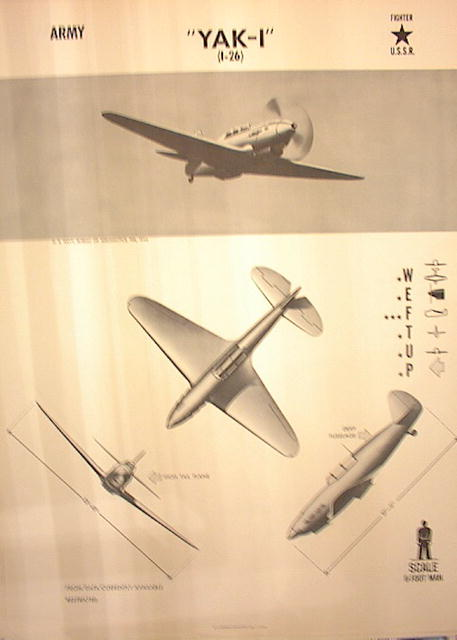 1944TRAING POSTER OF 'YAK-I'FIGHT PLANE