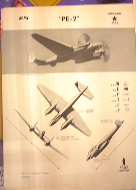 1944TRAING POSTER OF 'PE-2'ATTACK BOMBER
