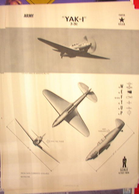 1944 TRAING POSTER OF'YAK-I'FIGHTER PLANE