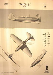 1944 TRAING POSTER OF'MIG-3'FIGHTER PLANE