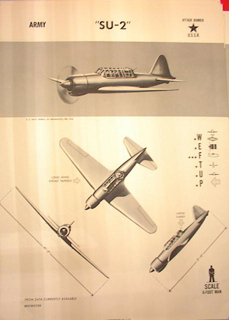 1944 TRAING POSTER OF 'SU-2' ATTACK BOMBER