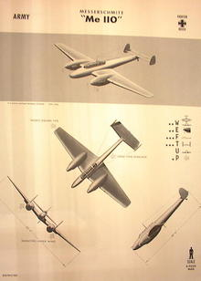 1944 TRAING POSTER OF 'Me 110' FIGHTER PLANE