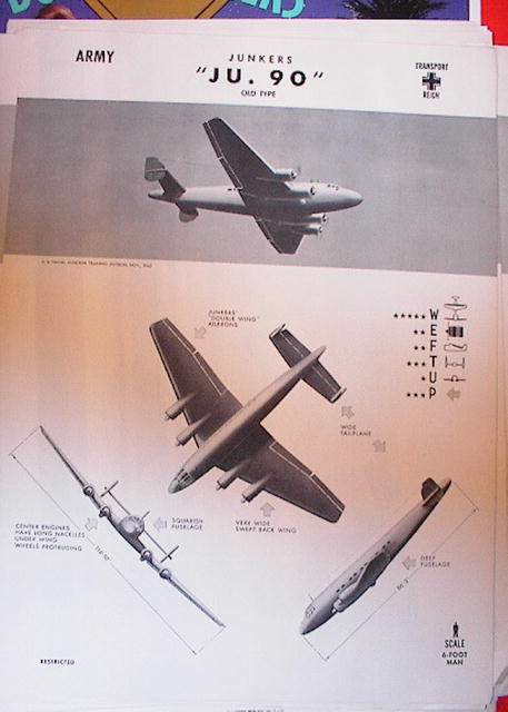 1944 TRAING POSTER OF'JU.90' TRANSPORT PLANE