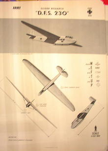 1944 TRAING POSTER OF 'D.F.S.230'GLIDER PLANE