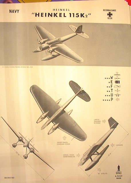 1944 TRAING POSTER OF'HEINKEL 115K2'RECONNAIS