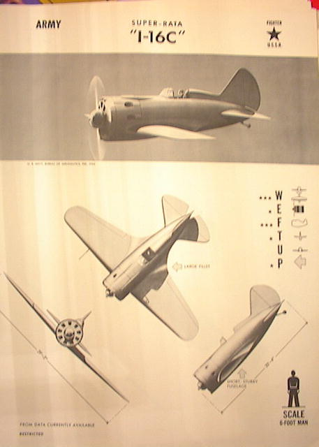 1944 TRAING POSTER OF 'I-16C'FIGHTER PLANE
