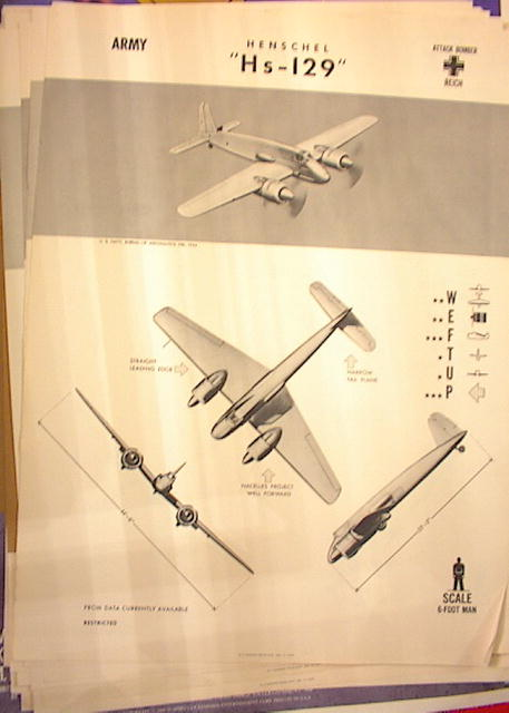 1944 TRAING POSTER OF 'Hs-129' ATTACK BOMBER