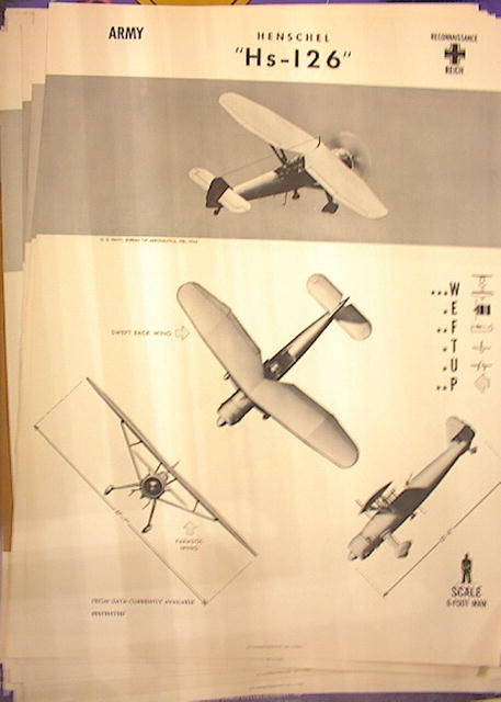 1944 TRAING POSTER OF 'Hs-126' RECONNAISANCE