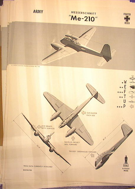 1944 TRAING POSTER OF 'Me-210' FIGHTER PLANE