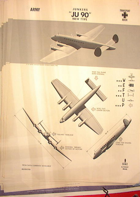 1944 TRAING POSTER OF 'JU 90' TRANSPORT PLANE