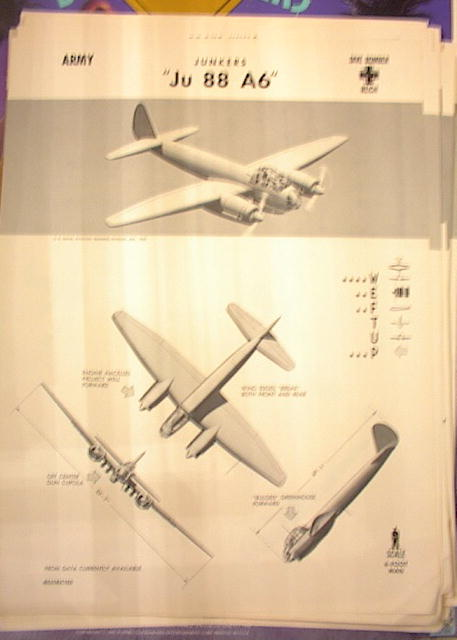 1942 TRAING POSTER OF'Ju 88 A6'DIVE BOMBER