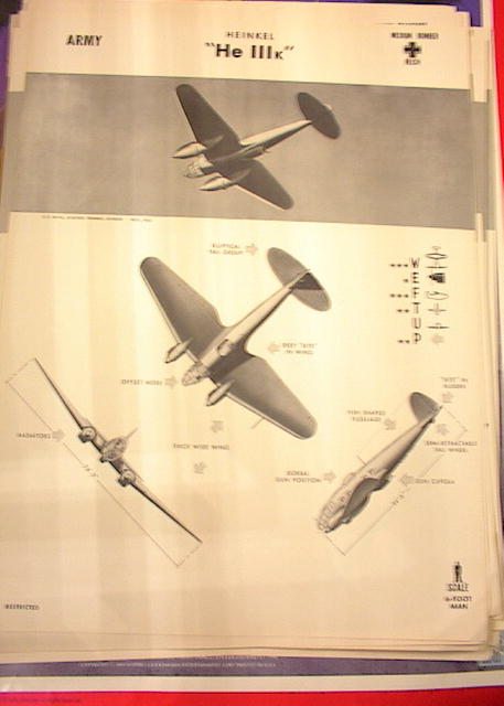 1942 TRAING POSTER OF 'He IIIk'MEDIUM BOMBER