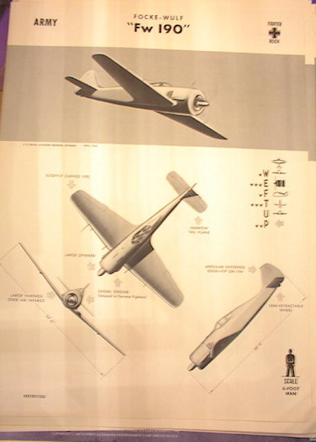 1942 TRAING POSTER OF 'Fw 190' FIGHTER PLANE