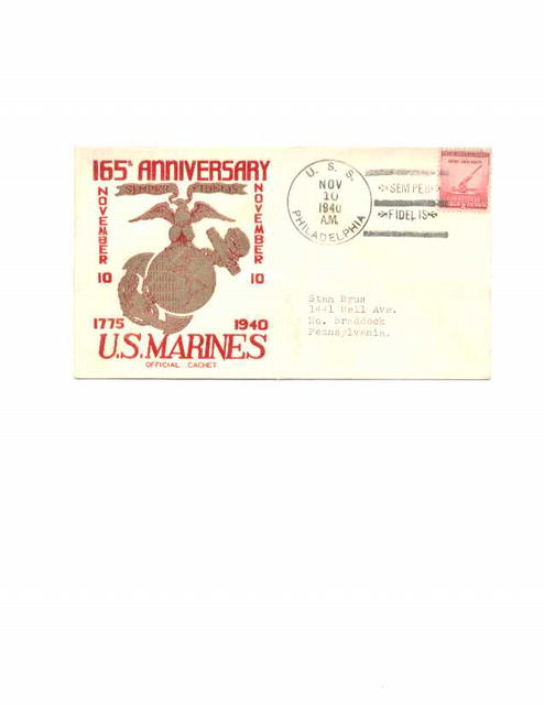 Marines 165th Anniv. postmarked letter