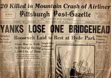 WWII Newspaper-Pittsburgh Post-Gazette; April 16, 1945