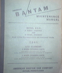 1941 American BANTAM / Jeep Type Manual Model B R C