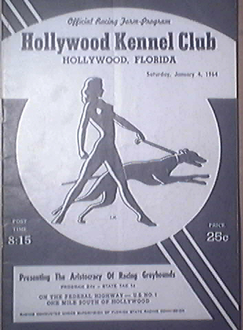 Offical Racing Program Hollywood Kennel Club 1/14/1964