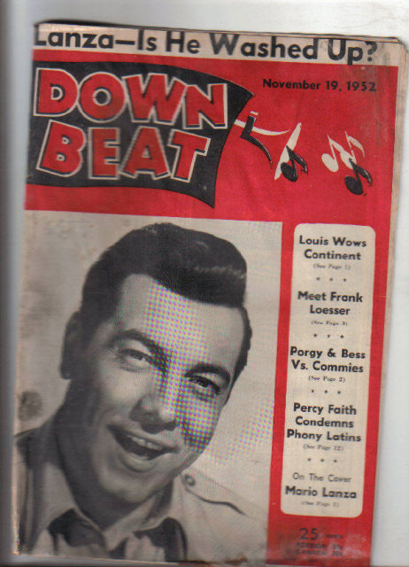 Down Beat Magazine 11/19/1952 Porgy & Bess Percy Faith Jazz, blues