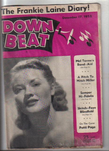 Down Beat Magazine 12/17/1952 Frankie Laine Diary, Patti Page, Jazz, Blues, R & B
