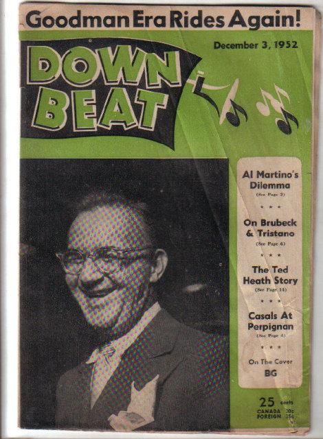 Down Beat Magazine 12/3/1952 Ted Heath, Dixie Crosby, Sugar Ray, BG cover