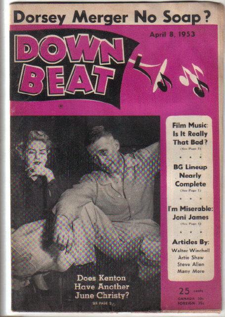 Down Beat Magazine 4/8/53 Chubby Jackson-Bill Harris, Judge Digs