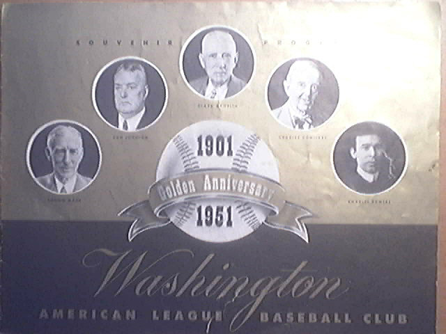 Souvenir Program 1901-1955 Golden Anniversary Washington American League Baseball Club