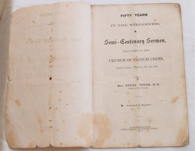 French Creek/Upshur Co., WV 1869 Sermon rare!
